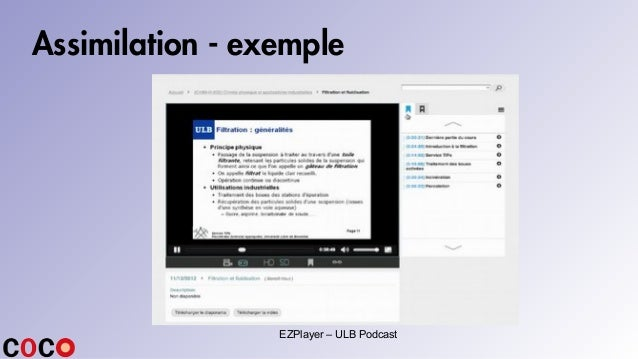 Assimilation - exemple EZPlayer – ULB Podcast