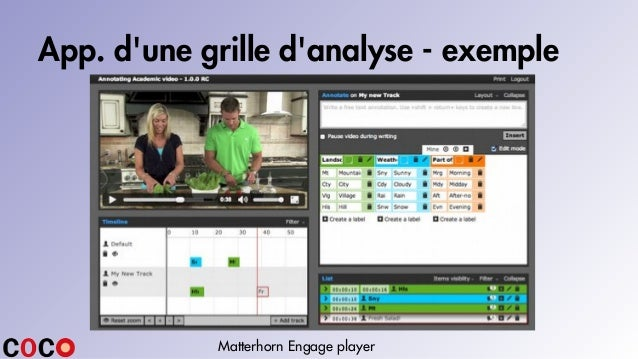App. d'une grille d'analyse - exemple Matterhorn Engage player