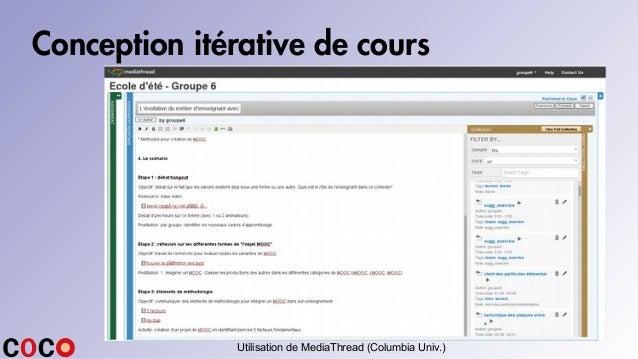 Conception itérative de cours Utilisation de MediaThread (Columbia Univ.)