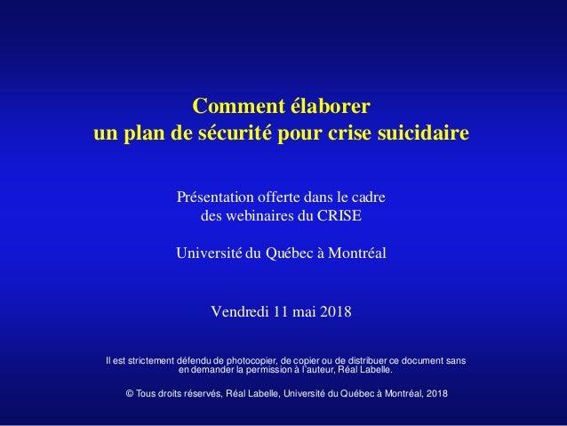 Comment élaborer un plan de sécurité pour crise suicidaire Présentation offerte dans le cadre des webinaires du CRISE Univ...