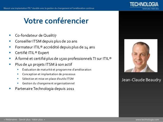 Réussir une implantation ITIL® durable [Webinaire] Slide 2