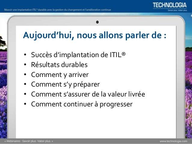 Réussir une implantation ITIL® durable [Webinaire] Slide 3