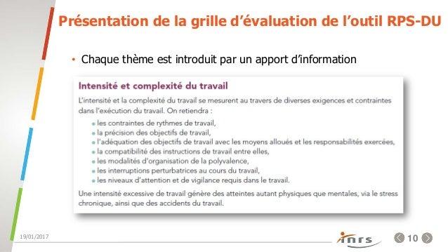 Evaluation et pr vention des risques psychosociaux - Grille d evaluation des risques psychosociaux ...