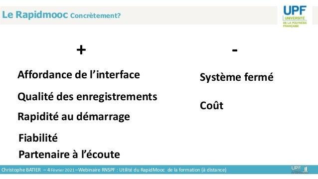 Le Rapidmooc Concrètement? + Christophe BATIER – 4 Février 2021 –Webinaire RNSPF : Utilité du RapidMooc de la formation (à...
