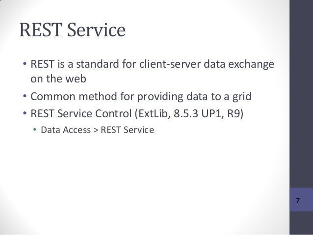 REST Service • REST is a standard for client-server data exchange on the web • Common method for providing data to a grid ...