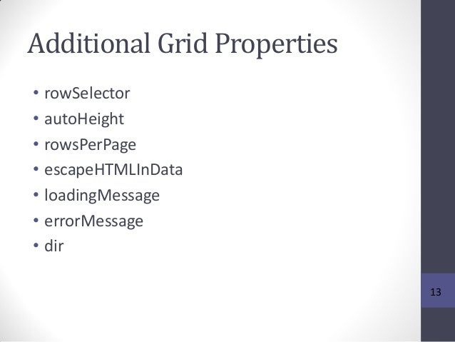 Additional Grid Properties • rowSelector • autoHeight • rowsPerPage • escapeHTMLInData • loadingMessage • errorMessage • d...