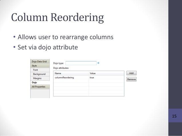 Column Reordering • Allows user to rearrange columns • Set via dojo attribute 15