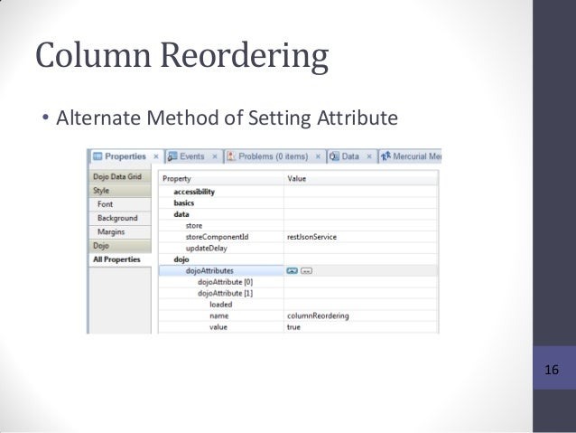 Column Reordering • Alternate Method of Setting Attribute 16