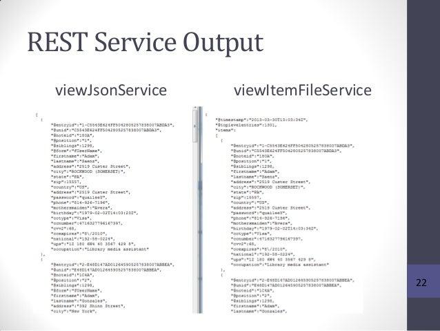 REST Service Output viewJsonService viewItemFileService 22