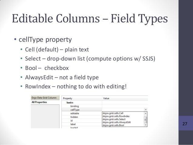 Editable Columns – Field Types • cellType property • Cell (default) – plain text • Select – drop-down list (compute option...