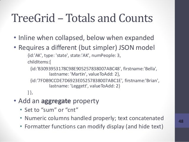TreeGrid – Totals and Counts • Inline when collapsed, below when expanded • Requires a different (but simpler) JSON model ...