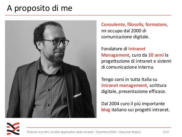 profilo e rubrica, le killer application della intranet - Webinar - [Intranet Management]  Slide 2
