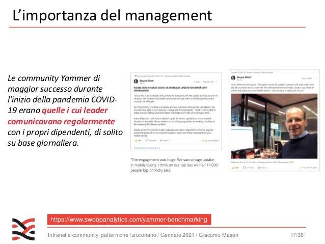 Intranet e community, pattern che funzionano / Gennaio 2021 / Giacomo Mason 18/36 Filo diretto con i Manager https://www.s...