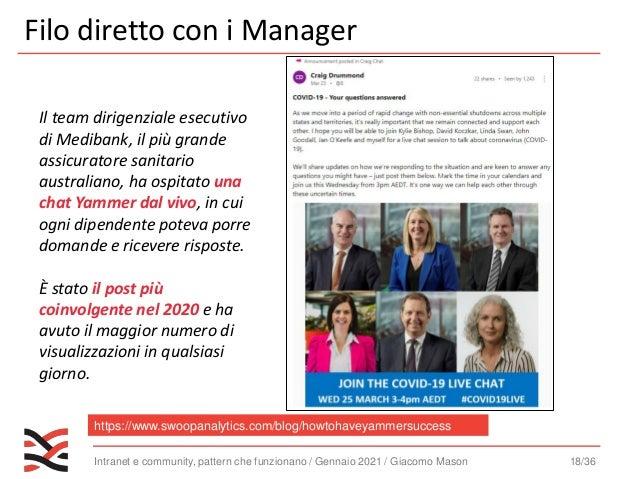 Intranet e community, pattern che funzionano / Gennaio 2021 / Giacomo Mason 19/36 La regola 1 2 3 per i manager https://ww...