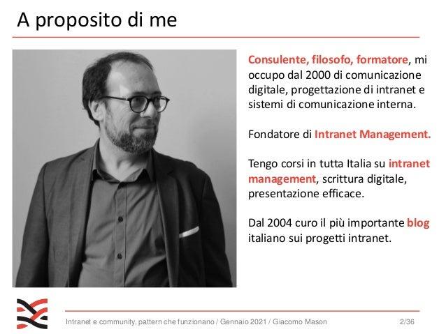 Intranet e community, pattern che funzionano / Gennaio 2021 / Giacomo Mason 3/36 2003 - 2019