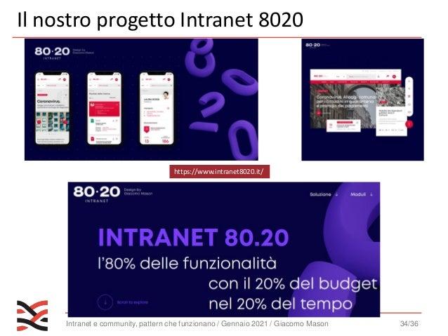 Intranet e community, pattern che funzionano / Gennaio 2021 / Giacomo Mason 35/36 https://www.intranetmanagement.it/corso/...