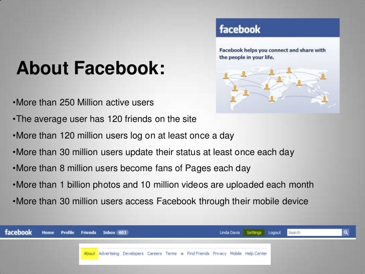 About Facebook:<br />About Facebook<br /><ul><li>More than 250 Million active users