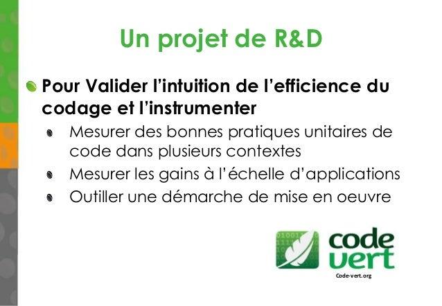 Un projet de R&D Pour Valider l'intuition de l'efficience du codage et l'instrumenter Mesurer des bonnes pratiques unitair...