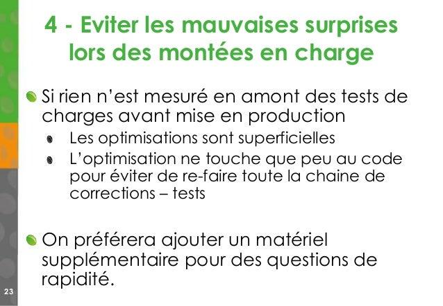 4 - Eviter les mauvaises surprises lors des montées en charge 23 Si rien n'est mesuré en amont des tests de charges avant ...