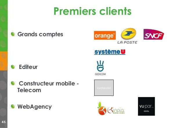 Premiers clients 45 Confidentiel Grands comptes Editeur Constructeur mobile - Telecom WebAgency
