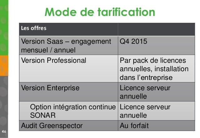 Mode de tarification 46 Les offres Version Saas – engagement mensuel / annuel Q4 2015 Version Professional Par pack de lic...