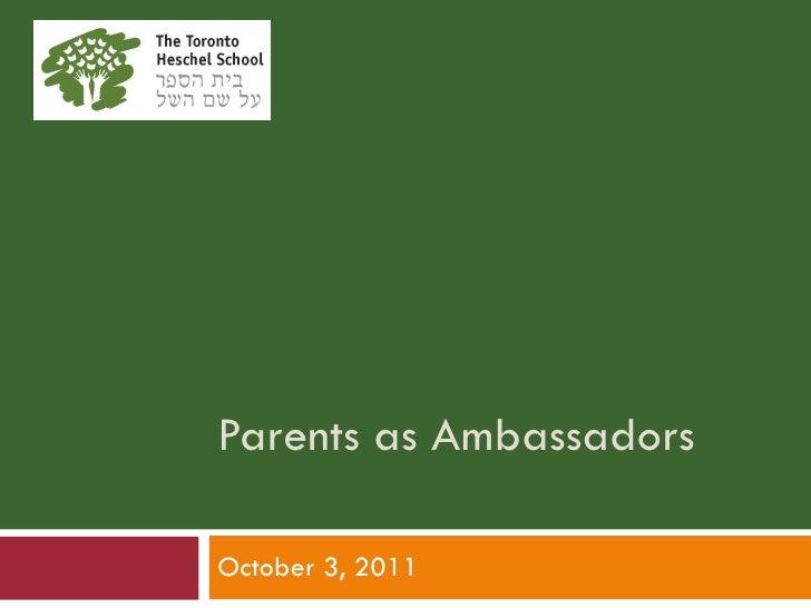 Parents as Ambassadors October 3, 2011