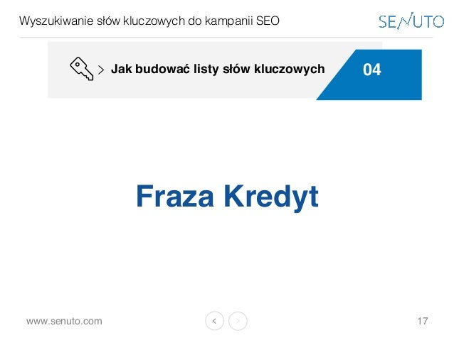 www.senuto.com Wyszukiwanie słów kluczowych do kampanii SEO 17 Fraza Kredyt 04Jak budować listy słów kluczowych