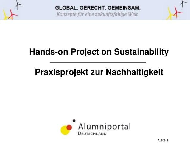 Hands-on Project on Sustainability  Praxisprojekt zur Nachhaltigkeit  Seite 1