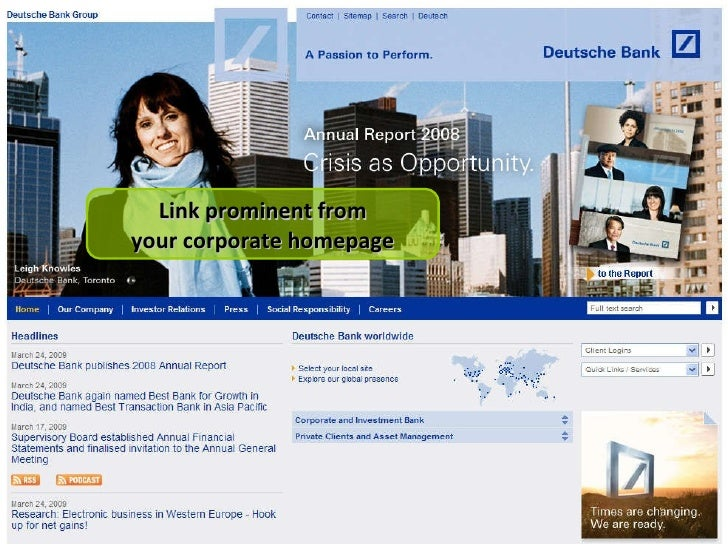 Link prominent from your corporate homepage