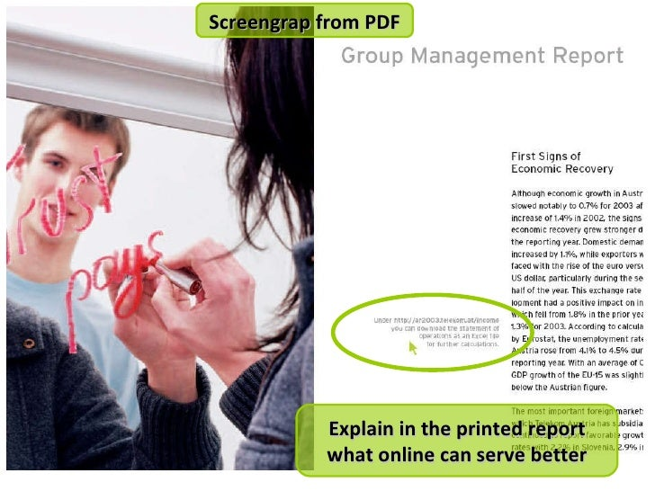 Explain in the printed report what online can serve better Screengrap from PDF