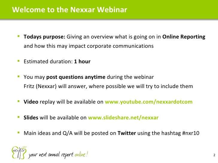 Webinar on Online Reporting 2010-10-12 Slide 2