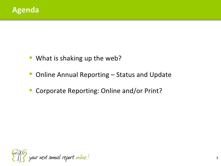 Webinar on Online Reporting 2010-10-12 Slide 3