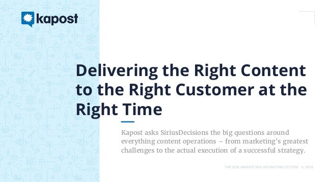 THE B2B MARKETING OPERATING SYSTEM © 2016 Kapost asks SiriusDecisions the big questions around everything content operatio...
