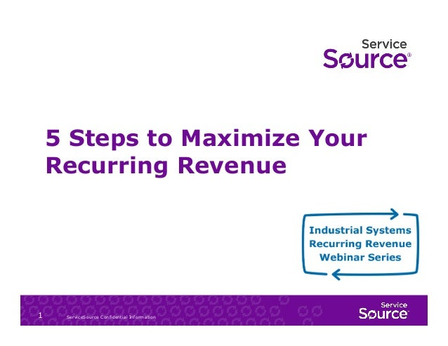 5 Steps to Maximize Your Recurring Revenue  1  ServiceSource Confidential Information