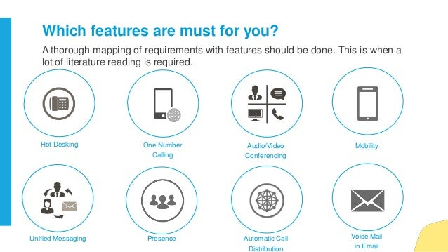 Which features are must for you? Audio/Video Conferencing One Number Calling Hot Desking Automatic Call Distribution Prese...