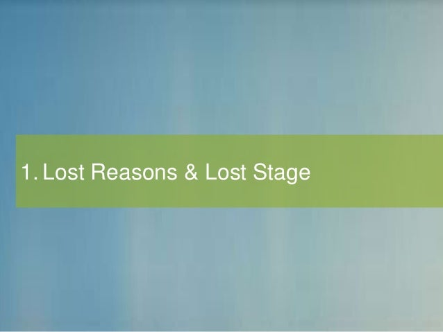 1. Lost Reasons & Lost Stage