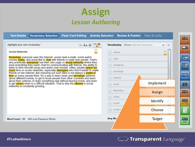 Assign Lesson Authoring  Implement  Assign  Identify  Choose  Target  #TLedwebinars