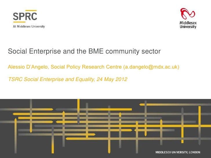 "Social Enterprise and the BME community sectorAlessio D""Angelo, Social Policy Research Centre (a.dangelo@mdx.ac.uk)TSRC So..."