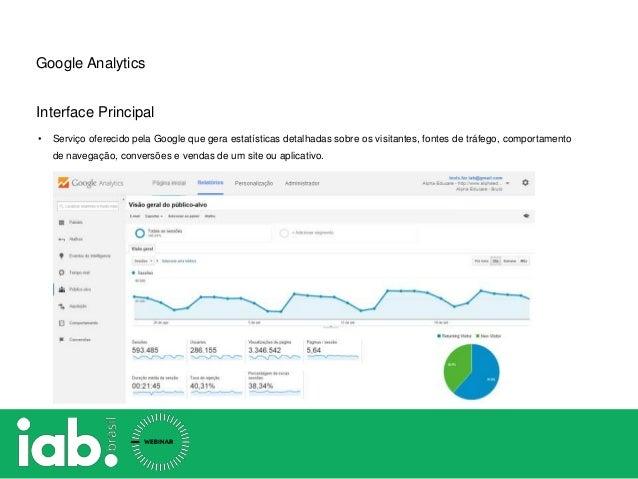 Google Analytics Interface Principal • Serviço oferecido pela Google que gera estatísticas detalhadas sobre os visitantes,...