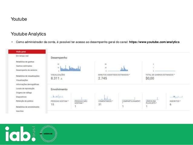 Youtube Youtube Analytics • Como administrador da conta, é possível ter acesso ao desempenho geral do canal: https://www.y...