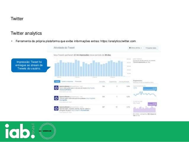 Twitter Twitter analytics • Ferramenta da própria plataforma que exibe informações extras: https://analytics.twitter.com I...