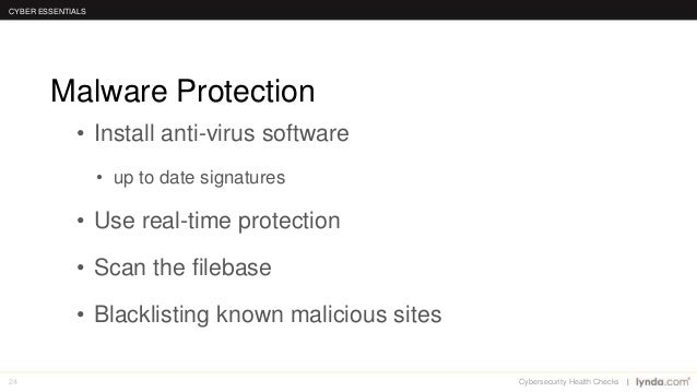 24 • Install anti-virus software • up to date signatures • Use real-time protection • Scan the filebase • Blacklisting kno...