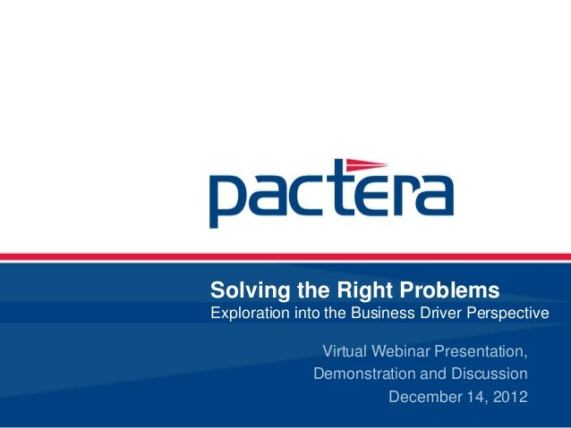 Solving the Right ProblemsExploration into the Business Driver Perspective               Virtual Webinar Presentation,    ...