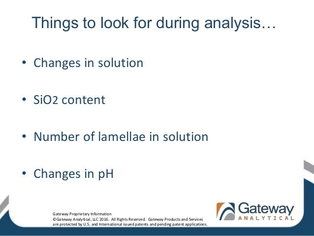 Things to look for during analysis… • Changes in solution • SiO2 content • Number of lamellae in solution • Changes in pH ...
