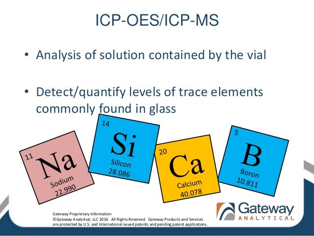 ICP-OES/ICP-MS • Analysis of solution contained by the vial • Detect/quantify levels of trace elements commonly found in g...