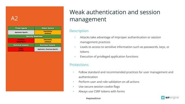 #wpewebinar Description A2 Weak authentication and session management • Attacks take advantage of improper authentication ...