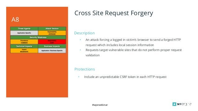 #wpewebinar Description A8 Cross Site Request Forgery • An attack forcing a logged in victim's browser to send a forged HT...