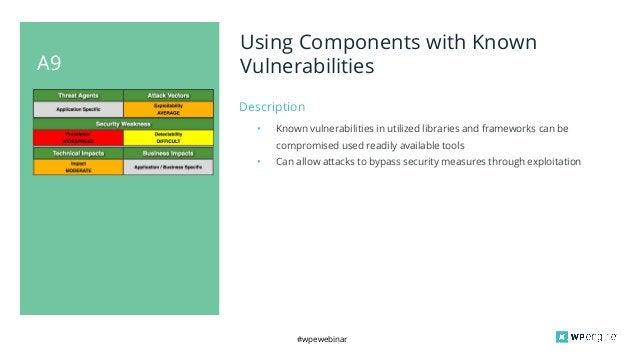 #wpewebinar A9 Using Components with Known Vulnerabilities Description • Known vulnerabilities in utilized libraries and f...