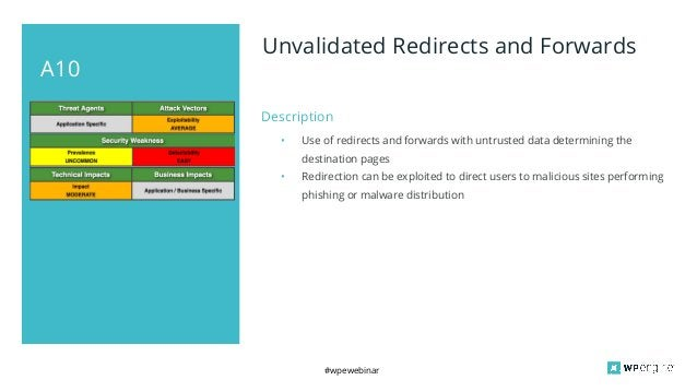 #wpewebinar A10 Unvalidated Redirects and Forwards Description • Use of redirects and forwards with untrusted data determi...