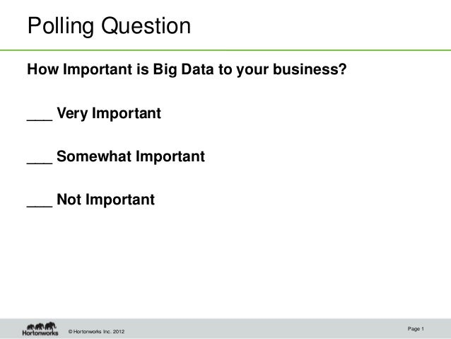 Polling QuestionHow Important is Big Data to your business?___ Very Important___ Somewhat Important___ Not Important      ...